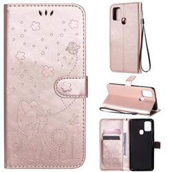 Embossing Bee and Cat Leather Wallet Case for Samsung Galaxy A21s - Rose Gold