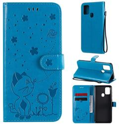 Embossing Bee and Cat Leather Wallet Case for Samsung Galaxy A21s - Blue