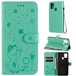 Embossing Bee and Cat Leather Wallet Case for Samsung Galaxy A21s - Green