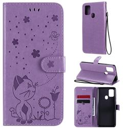 Embossing Bee and Cat Leather Wallet Case for Samsung Galaxy A21s - Purple