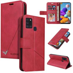 GQ.UTROBE Right Angle Silver Pendant Leather Wallet Phone Case for Samsung Galaxy A21s - Red