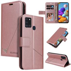 GQ.UTROBE Right Angle Silver Pendant Leather Wallet Phone Case for Samsung Galaxy A21s - Rose Gold
