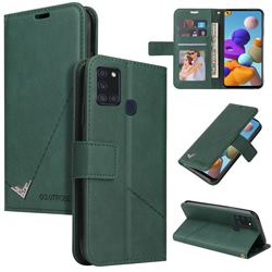 GQ.UTROBE Right Angle Silver Pendant Leather Wallet Phone Case for Samsung Galaxy A21s - Green
