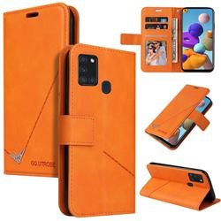 GQ.UTROBE Right Angle Silver Pendant Leather Wallet Phone Case for Samsung Galaxy A21s - Orange