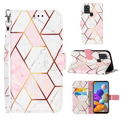Pink White Stitching Color Marble Leather Wallet Case for Samsung Galaxy A21s