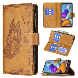 Binfen Color Imprint Vivid Butterfly Buckle Zipper Multi-function Leather Phone Wallet for Samsung Galaxy A21s - Brown