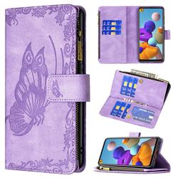 Binfen Color Imprint Vivid Butterfly Buckle Zipper Multi-function Leather Phone Wallet for Samsung Galaxy A21s - Purple