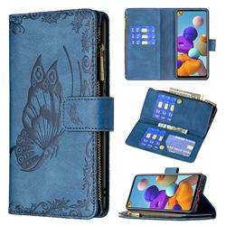 Binfen Color Imprint Vivid Butterfly Buckle Zipper Multi-function Leather Phone Wallet for Samsung Galaxy A21s - Blue