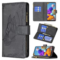 Binfen Color Imprint Vivid Butterfly Buckle Zipper Multi-function Leather Phone Wallet for Samsung Galaxy A21s - Black