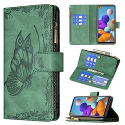 Binfen Color Imprint Vivid Butterfly Buckle Zipper Multi-function Leather Phone Wallet for Samsung Galaxy A21s - Green