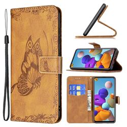 Binfen Color Imprint Vivid Butterfly Leather Wallet Case for Samsung Galaxy A21s - Brown