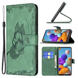 Binfen Color Imprint Vivid Butterfly Leather Wallet Case for Samsung Galaxy A21s - Green