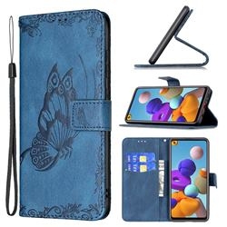 Binfen Color Imprint Vivid Butterfly Leather Wallet Case for Samsung Galaxy A21s - Blue