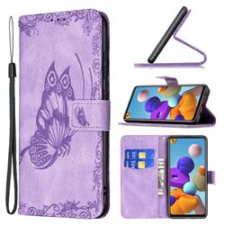 Binfen Color Imprint Vivid Butterfly Leather Wallet Case for Samsung Galaxy A21s - Purple