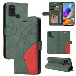 Luxury Two-color Stitching Leather Wallet Case Cover for Samsung Galaxy A21s - Green