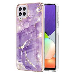 Fashion Purple Electroplated Gold Frame 2.0 Thickness Plating Marble IMD Soft Back Cover for Samsung Galaxy A22 4G