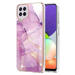 Dream Violet Electroplated Gold Frame 2.0 Thickness Plating Marble IMD Soft Back Cover for Samsung Galaxy A22 4G