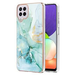 Green Silk Electroplated Gold Frame 2.0 Thickness Plating Marble IMD Soft Back Cover for Samsung Galaxy A22 4G