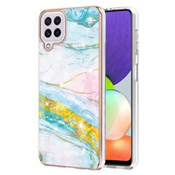 Green Golden Electroplated Gold Frame 2.0 Thickness Plating Marble IMD Soft Back Cover for Samsung Galaxy A22 4G