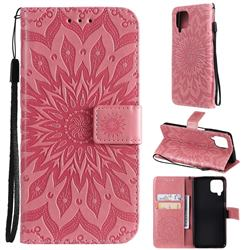 Embossing Sunflower Leather Wallet Case for Samsung Galaxy A22 4G - Pink