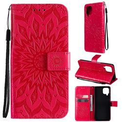 Embossing Sunflower Leather Wallet Case for Samsung Galaxy A22 4G - Red