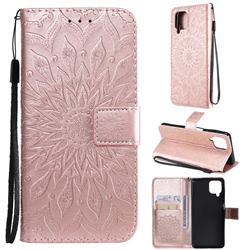Embossing Sunflower Leather Wallet Case for Samsung Galaxy A22 4G - Rose Gold