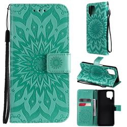 Embossing Sunflower Leather Wallet Case for Samsung Galaxy A22 4G - Green