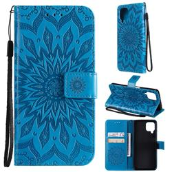 Embossing Sunflower Leather Wallet Case for Samsung Galaxy A22 4G - Blue