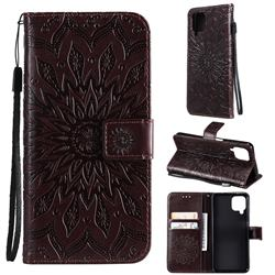 Embossing Sunflower Leather Wallet Case for Samsung Galaxy A22 4G - Brown