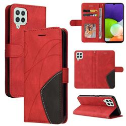 Luxury Two-color Stitching Leather Wallet Case Cover for Samsung Galaxy A22 4G - Red