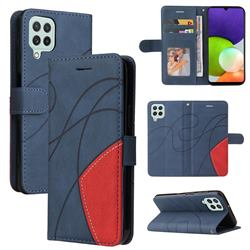 Luxury Two-color Stitching Leather Wallet Case Cover for Samsung Galaxy A22 4G - Blue