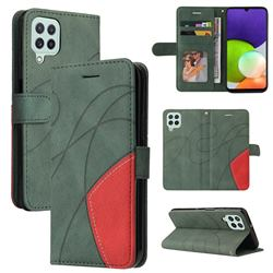 Luxury Two-color Stitching Leather Wallet Case Cover for Samsung Galaxy A22 4G - Green