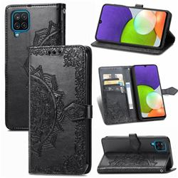 Embossing Imprint Mandala Flower Leather Wallet Case for Samsung Galaxy A22 4G - Black