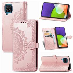 Embossing Imprint Mandala Flower Leather Wallet Case for Samsung Galaxy A22 4G - Rose Gold
