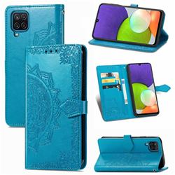 Embossing Imprint Mandala Flower Leather Wallet Case for Samsung Galaxy A22 4G - Blue