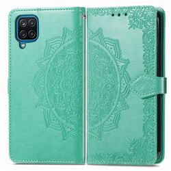 Embossing Imprint Mandala Flower Leather Wallet Case for Samsung Galaxy A22 4G - Green