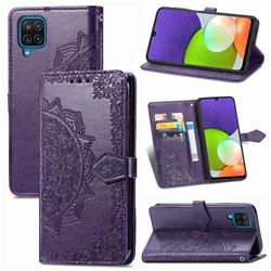 Embossing Imprint Mandala Flower Leather Wallet Case for Samsung Galaxy A22 4G - Purple