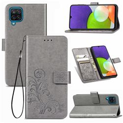 Embossing Imprint Four-Leaf Clover Leather Wallet Case for Samsung Galaxy A22 4G - Grey