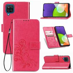 Embossing Imprint Four-Leaf Clover Leather Wallet Case for Samsung Galaxy A22 4G - Rose Red