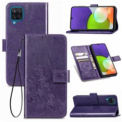 Embossing Imprint Four-Leaf Clover Leather Wallet Case for Samsung Galaxy A22 4G - Purple