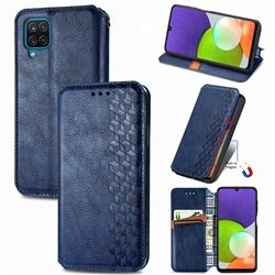 Ultra Slim Fashion Business Card Magnetic Automatic Suction Leather Flip Cover for Samsung Galaxy A22 4G - Dark Blue