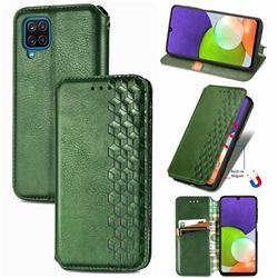 Ultra Slim Fashion Business Card Magnetic Automatic Suction Leather Flip Cover for Samsung Galaxy A22 4G - Green