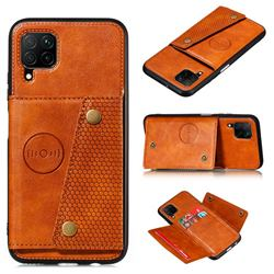 Retro Multifunction Card Slots Stand Leather Coated Phone Back Cover for Samsung Galaxy A22 4G - Brown