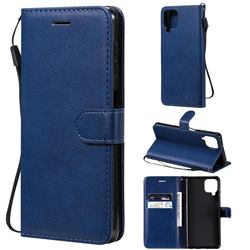 Retro Greek Classic Smooth PU Leather Wallet Phone Case for Samsung Galaxy A22 4G - Blue