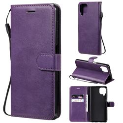 Retro Greek Classic Smooth PU Leather Wallet Phone Case for Samsung Galaxy A22 4G - Purple