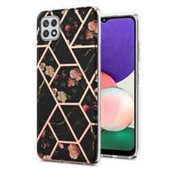 Black Rose Flower Marble Electroplating Protective Case Cover for Samsung Galaxy A22 5G