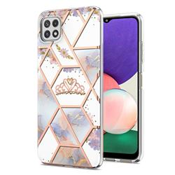 Crown Purple Flower Marble Electroplating Protective Case Cover for Samsung Galaxy A22 5G