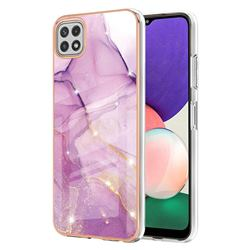 Dream Violet Electroplated Gold Frame 2.0 Thickness Plating Marble IMD Soft Back Cover for Samsung Galaxy A22 5G
