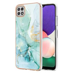 Green Silk Electroplated Gold Frame 2.0 Thickness Plating Marble IMD Soft Back Cover for Samsung Galaxy A22 5G