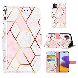 Pink White Stitching Color Marble Leather Wallet Case for Samsung Galaxy A22 5G